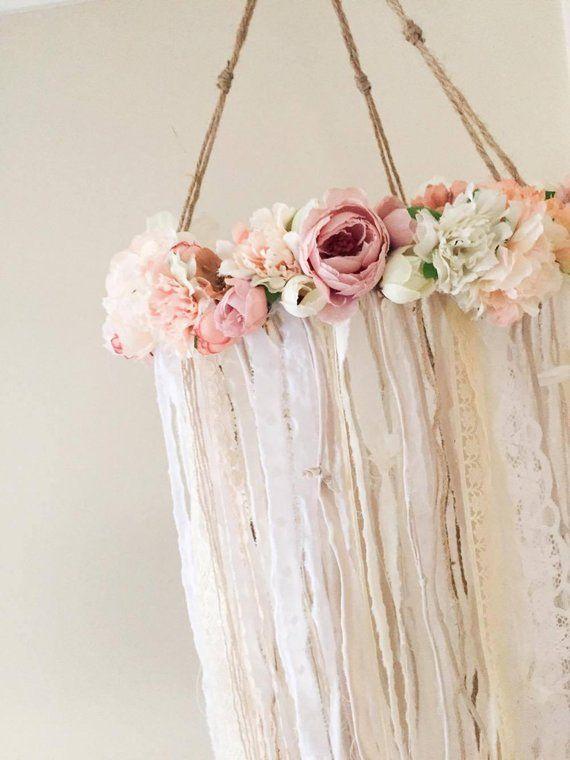 Rustikale Blume Mobile || handgemacht | Baby | Mädchen | Kindergarten | Dekor | floral | böhmisch | Dekor | Kronleuchter | Mädchen | zimmer | dusche | Geschenk   – • Boho Baby Shower •