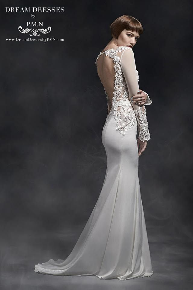 Long Sleeve Wedding Dress With Lace Top (#SS16101) - Dream Dresses by P.M.N  - 2