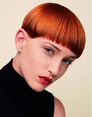 A Short Red straight multi-tonal coloured bowl-cut bob defined-fringe womens haircut hairstyle by Andrew Collinge #redbobhair