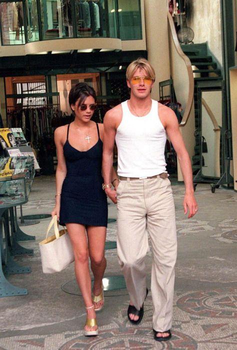 Victoria David Beckham On Holiday In Paris 1998 90s