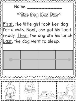 SEQUENCING with FIRST, NEXT, THEN, LAST, CUT AND PASTE, narrative writing, kindergarten, first grade