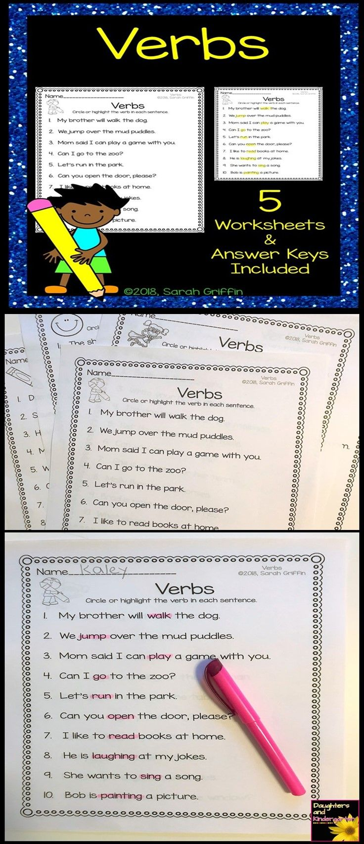 Verbs Practice Worksheets with answer keys | first grade | grade one | second grade | grade 2