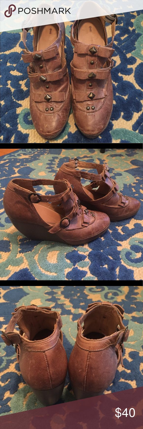 Boho brown distressed leather wedges! Beautiful brown leather wedges with strap and stud details. I'm not 100% sure that they're real leather but they feel and look like it. Distressed look, totally boho. Worn but in VGUC! Schumer & Sons Philadelphia Shoes