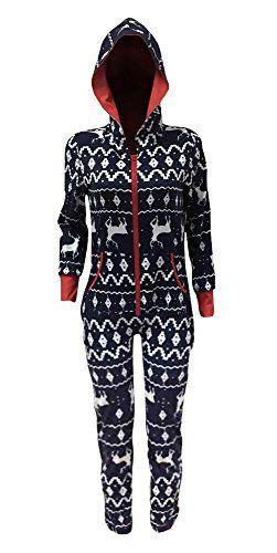 FISACE Women's Snow Deer Zip-up Christmas Hoody Jumpsuit Holiday Pajamas - http://www.darrenblogs.com/2016/12/fisace-womens-snow-deer-zip-up-christmas-hoody-jumpsuit-holiday-pajamas/