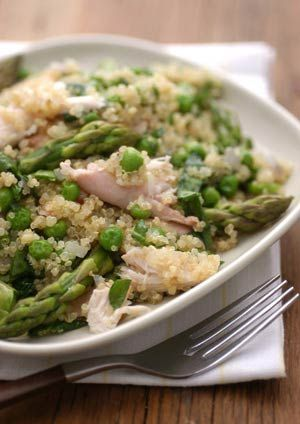 Quinoa Primavera with Chicken, Peas & Asparagus.  Think using leftover rotisserie chicken would be great in here.