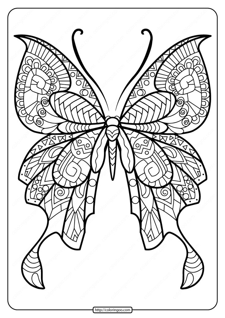 Printable Butterfly Mandala PDF Coloring Pages 44 in 2020