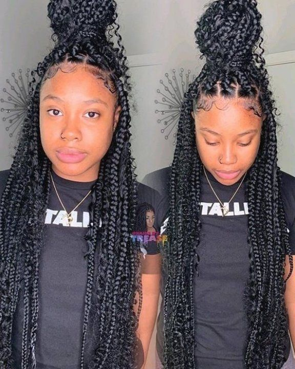 Goddess Box Braids Are Achieved By Adding Curly Hair As You Keep Braiding Learn More About Thi In 2020 Braids With Curls Box Braids Hairstyles Girls Hairstyles Braids