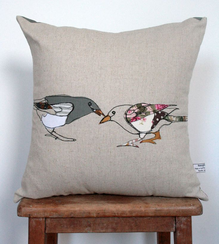 Appliqued Bird Cushion by florencev4 on Etsy, $45.00