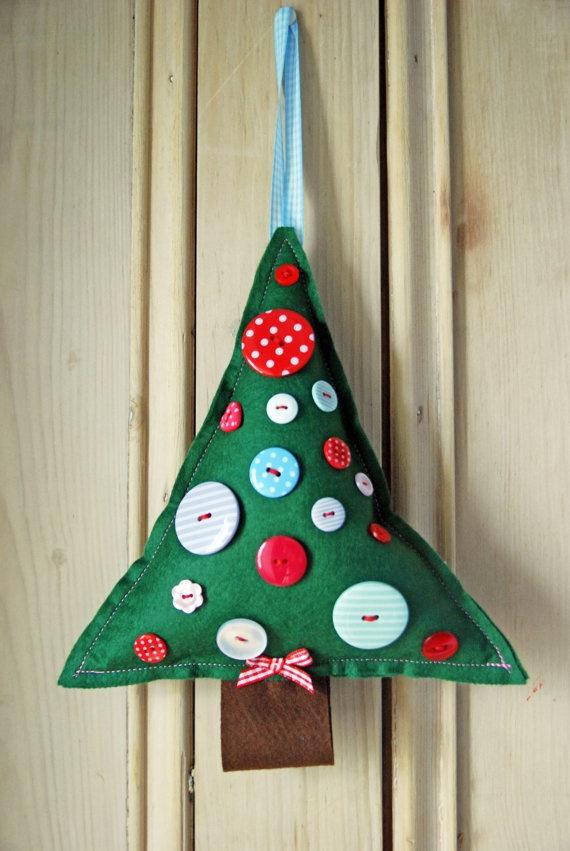 Green Felt Christmas Tree Hanging Decoration