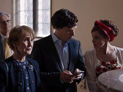 Una Stubbs, Louise Brealey, and Benedict Cumberbatch in Sherlock (2010)