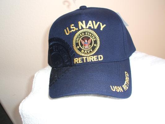 U S Navy Retired Logo On A New Navy Blue Ball Cap W Free