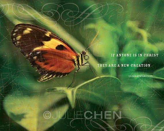 Christian Gift - Scripture Wall Art - Bible Verse - Inspirational Artwork - NEW CREATION - 2 Corinthians 5 - FULL Color Version