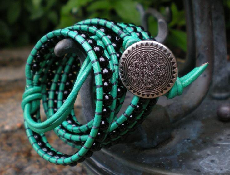 Black Onyx on Green Leather Wrap Bracelet
