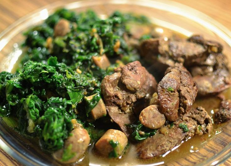 Chicken liver with spinach