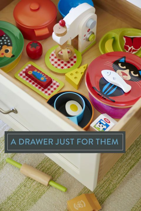 A stash of pretend food and baking tools will keep your chef-in-training occupied.