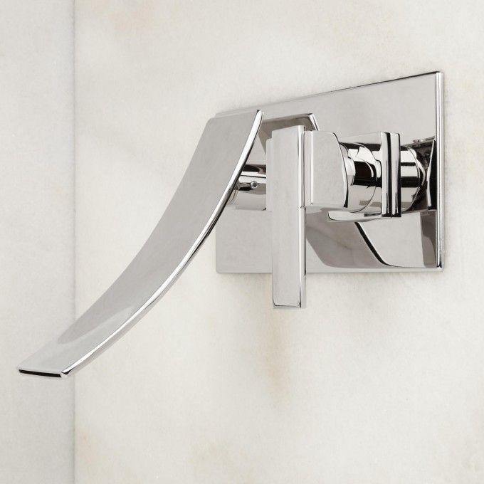 Reston Wall-Mount Waterfall Bathroom Faucet - Modern Faucets - Bathroom Sink Faucets - Bathroom
