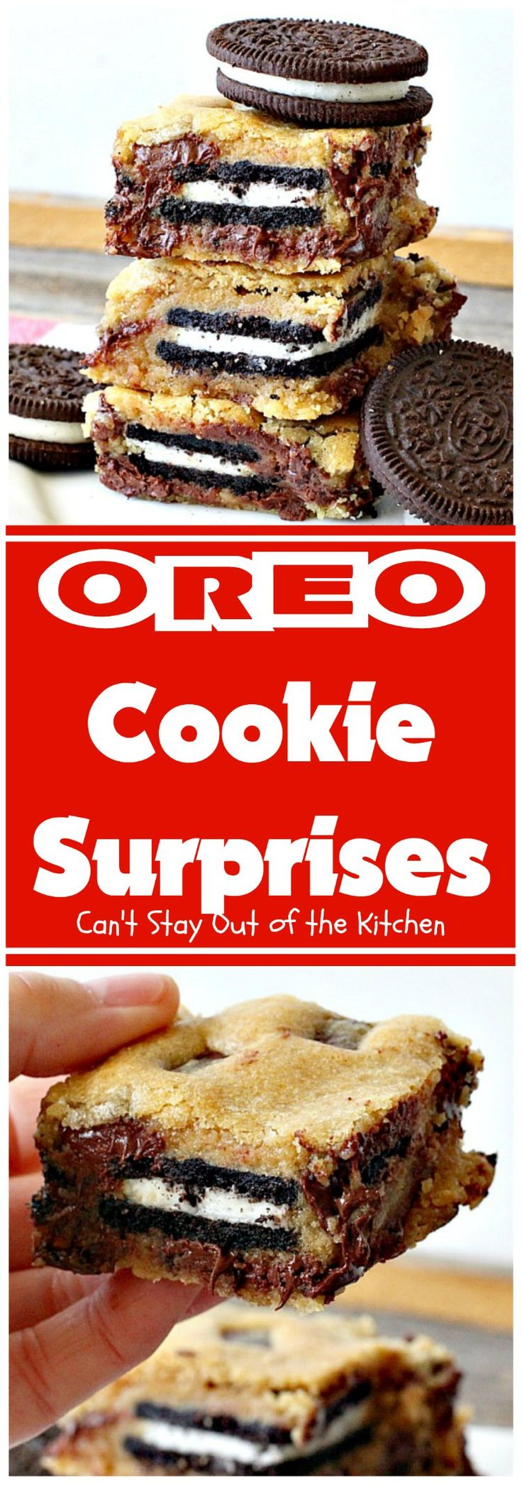 Oreo Cookie Surprises | These brownies are divine! Oreo cookies are sandwiched between#Mrs.Fields chocolate chip cookie dough! Best dessert ever! Great for Mothers Day & other holidays.