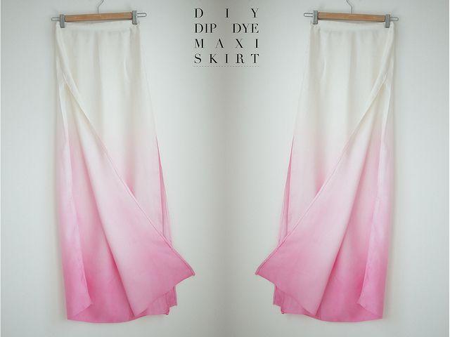 DIY Dip dye side split maxi skirt