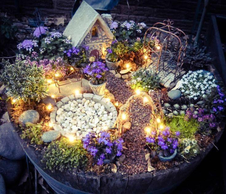 Fairy garden with solar twinkle lights.