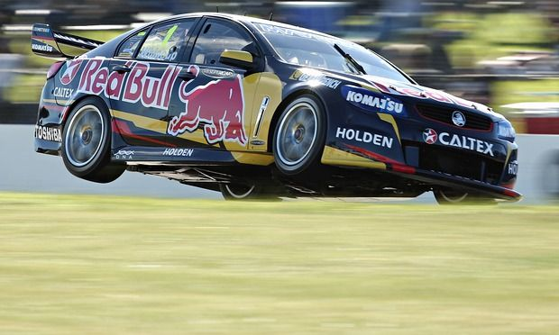 Jamie Whincup drives the Red Bull of the V8 Super Championship Series in Perth Australia.