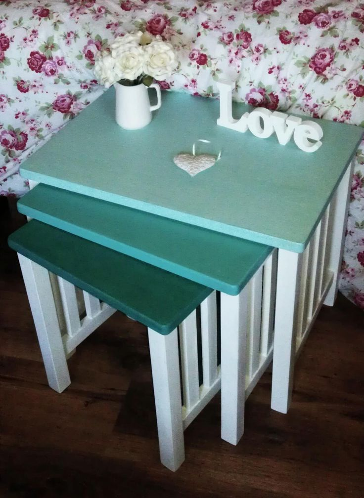 """Stunning Nest of Tables £38 ono  Painted with 'Old White' and graduating shades of 'Florence' Annie Sloan chalk paint. Finished with a protective coat of Annie Sloan soft wax.  DIMENSIONS: Large table - 22.5"""" x 18.5"""" Medium Table - 18.5"""" x 17.5"""" Small Table - 14.5"""" x 16.5""""  Collection from Torrington, North Devon https://www.facebook.com/KiLoKreations"""