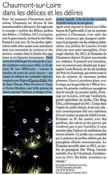 """L'ART DES JARDINS- mai / juin / juillet 2012 Un article sur le Calendrier des 7 lunes :""""Nous avons été séduits par le concept de ce jardin..."""