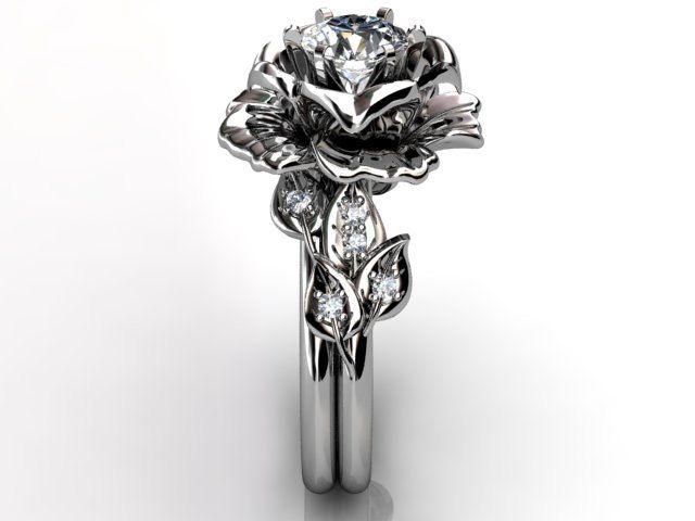 My new ideal engagement ring ...14k white gold diamond unusual unique floral by Jewelice on Etsy, $1,560.00