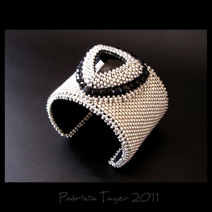 Glam Rock  Silver and Black Peyote beaded Bead Embroidered by triz, $198.00