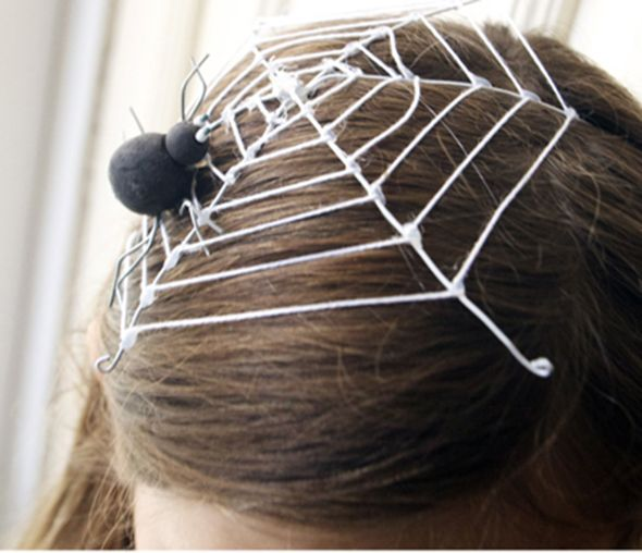 Cool spider headpiece - Wire, yarn, hot glue, and an elastic band to hold it on!