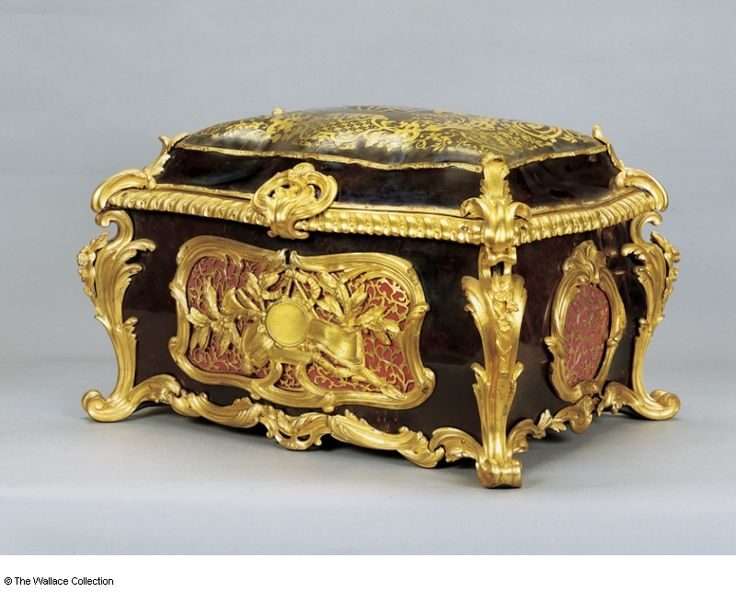 Casket Antoine Foullet (1710 - 1775) France c. 1755  late 19th century (velvet lining) Oak, turtleshell, première-partie Boulle marquetry of brass and turtleshell, pink silk, gilt bronze, crimson velvet, gold braid, brass and steel Object size: 35.5 x 56.5 x 40.5 cm
