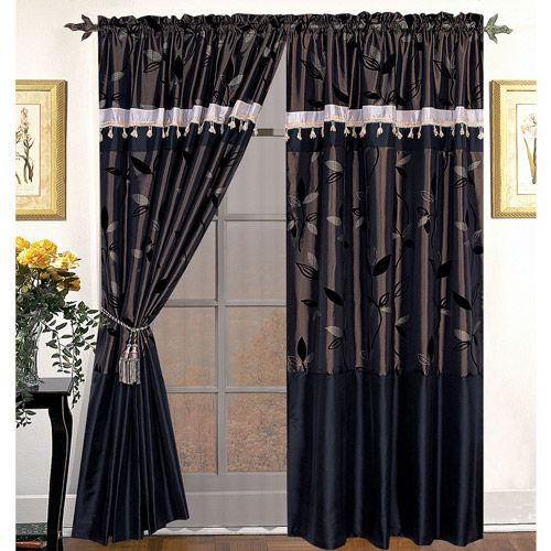 Nanshing pastora deluxe 4 piece window panel set walmart for Decoration maison walmart