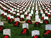 Wreaths Across America Salutes Veterans and 150th Anniversary at Arlington National Cemetery Article via AARP  www.aarp.com ... Learn how yo sponsor a wreath at Arlington National Cemetery and/or Local Heroes within your community via the official Wreaths Across America site at www.wreathsacrossamerica.org ...December 13, 2014, Saturday, is National Wreaths Across America Day...