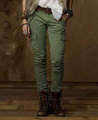 Denim & Supply Ralph Lauren Pants, Skinny Stretch Cargo Pants - Pants & Capris - Women - Macy's