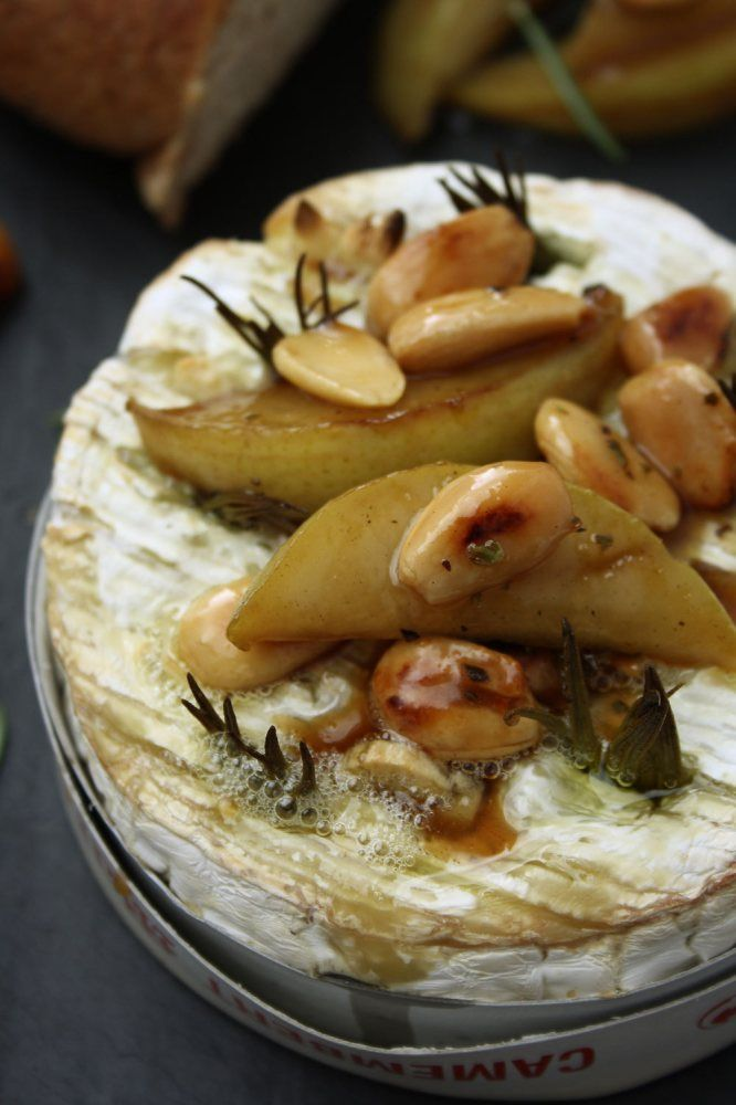 Rosemary and Garlic Baked Camembert with Honey Glazed Pear and Almonds