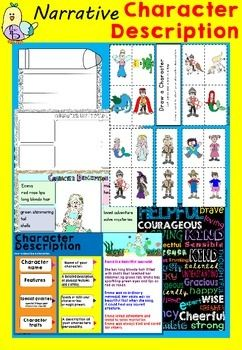 Narrative - Character Description This is a fantastic way to help your students with constructing their story writing. Using the Character Description poster your student can be the author of their own fairytale and so much more. I love this writing program students really become engaged and want to bring the adorable illustrations to life with their words.The Character Description Poster is extremely easy to refer back to.