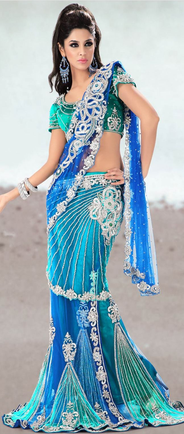 #Blue Net #Lehenga Style #Saree With Blouse @ $960.60