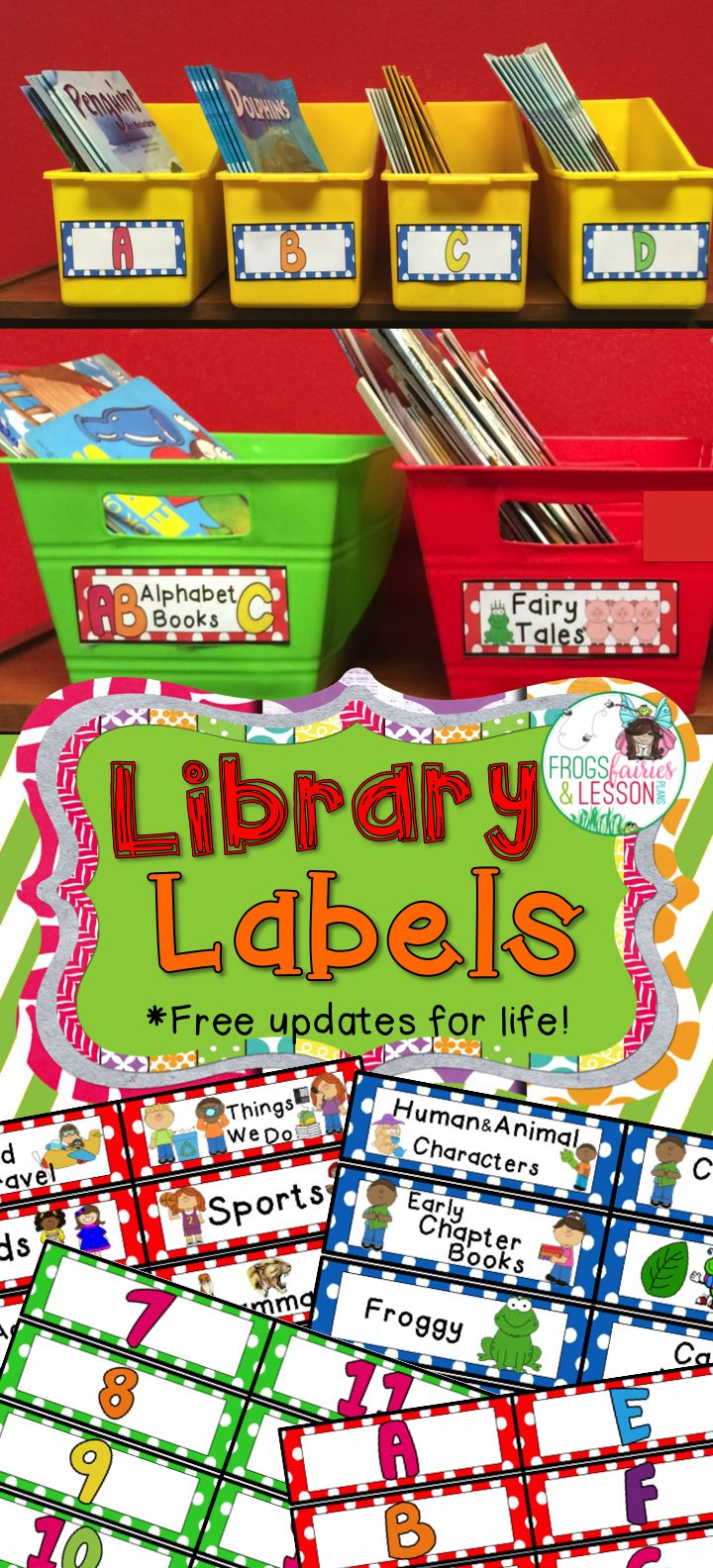 These whimsical polka dot labels come in 2 sizes and 3 colors. Print and laminate, or print on shipping labels.  Easy to color code the fiction and nonfiction bins in your library. Easy to label by theme, Reading Level, and Number! Receive free downloads of updated versions as I add labels to this collection!