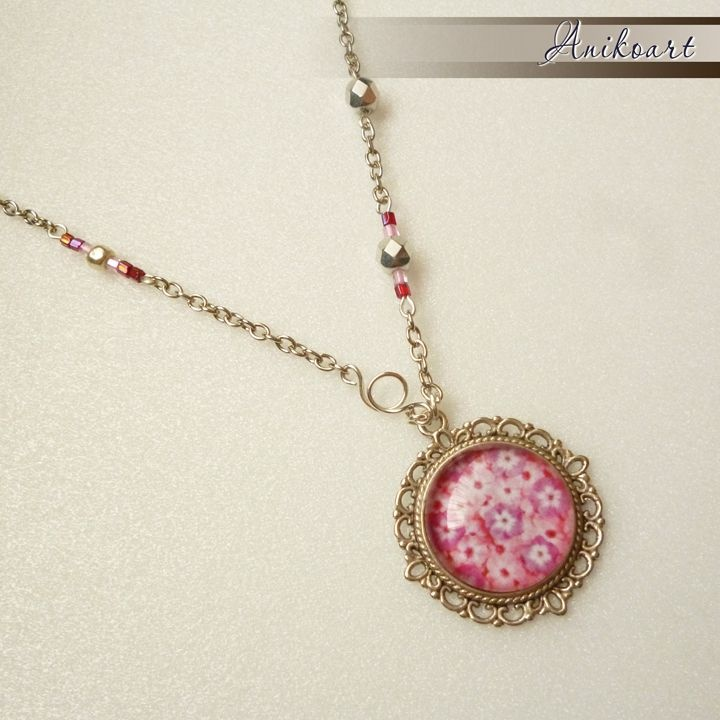 Rózsaszín virágos nyaklánc by http://www.breslo.hu/anikoart/shop