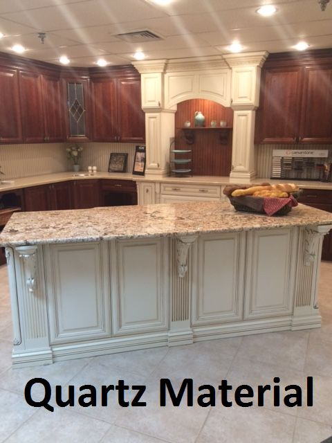 One of our displays at our showroom. Quartz Materials are gorgeous! Don't you think so? #kitchen