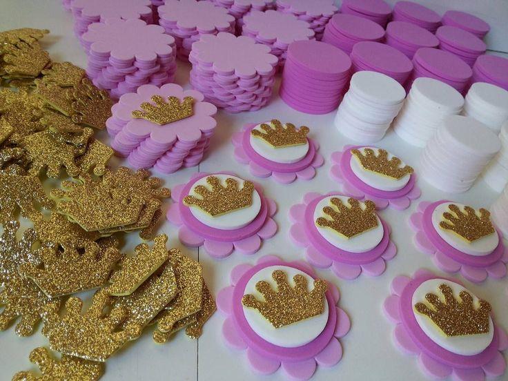 Kit Para 50 Apliques Coroa Princesas P/lembrancinhas - R$ 24,00