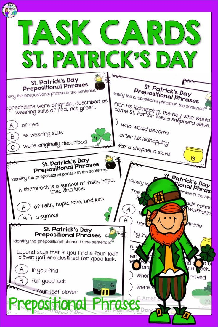 St Patrick S Day Activities With Prepositional Phrases Printable Task Cards In 2020 Prepositional Phrases Task Cards Printable Activities