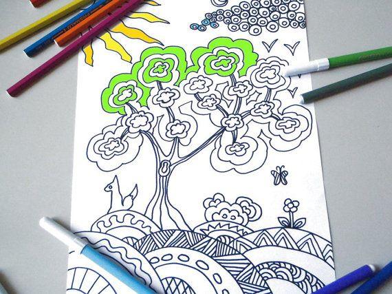 albero e volpe pagina da colorare per adulti zen meditazione stampare libro stampabile instant download disegno digitale lasoffittadiste
