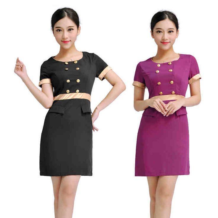 Beauty women working uniformes de trabalho roupas esteticista cabeleireiro tecnicismo vestido roxo e preto