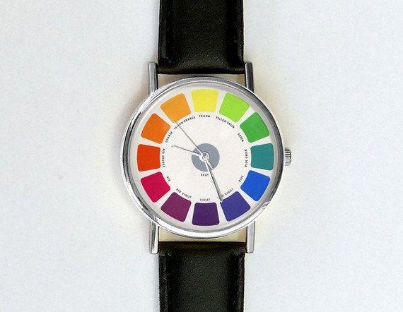 Leuke kunst Watch, Vintage kleurenwiel, Kleurenoverzicht, dameshorloge, Men