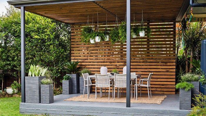 salon de jardin pergola brise-vue en bois | Terrassen ideen ...