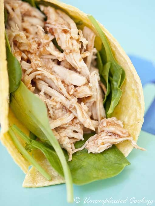 Two Ingredient low fat Slow Cooker Taco Chicken