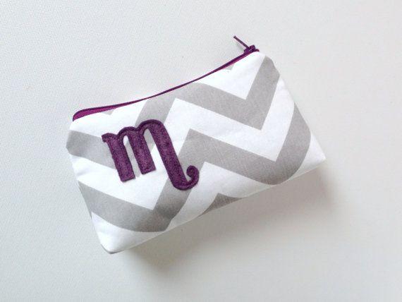 Plum & Grey Personalized Cosmetic Bag Gray by SandraSmithHandmade, $32.00