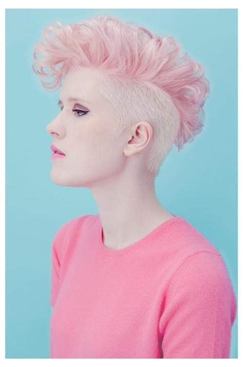 clean pink hair style.