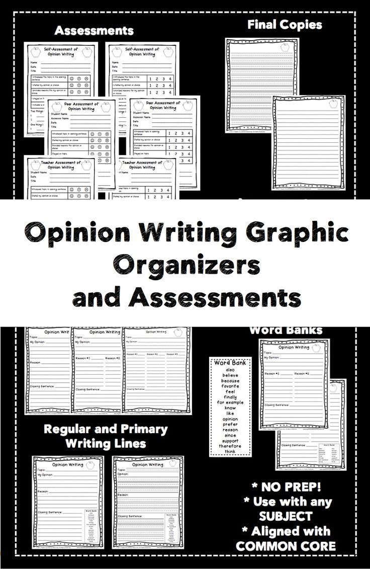 Use the Opinion Writing Graphic Organizers and Assessments to support your students with their opinion writing projects! The Opinion Writing Graphic Organizers and Assessments: Aligned With Common Core package contains a set of graphic organizations and assessments that you can use with your students with their opinion writing.