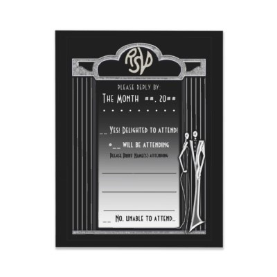 Tuxedo (Black and Silver Reply Card) - Sophisticated Art Deco inspired original design by Leslie Sigal Javorek. Non-metallic silver toned marquee supported by pinstripe columns on a solid black background. Elegant outline silhouette of a fashionable couple with graceful, elongated figures typical of 1920's-1930's illustrations and advertising. Coordinating Products @ www.zazzle.com/themarryingtype+tuxedo+silver+gifts?rf=238155573613991097